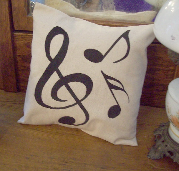 "MUSIC SYMBOLS Pillow 14"" Osnaburg Farmhouse Cottage Chic Shabby Country Musician"