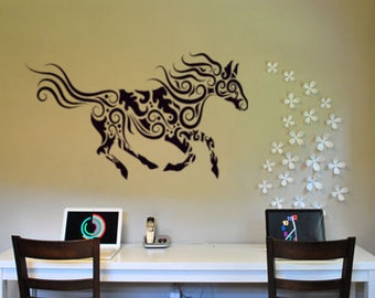 Horse decal-Tribal horse-Horse sticker-Vinyl wall decal-28 X 48 inches