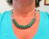 CLEARANCE PRICED - Hand Beaded Turquoise and Silver Russian Spiral Necklace