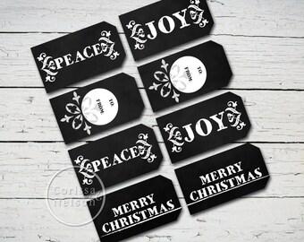 Chalkboard Joy Gift Tags - Christmas Instant Printable