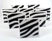Zebra mini note cards with envelopes, animal print, blank note cards, zebra party favors, gift enclosures, black & white