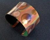 Colorful copper bracelet, polka dot copper  cuff jewelry