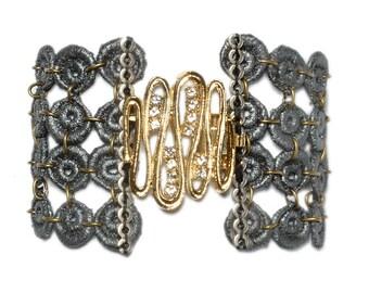Grey lace bracelet, vintage 24k gold plated  brooch.