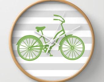 Light Green Beach Cruiser Wall Clock 10 inch Diameter Gray and White Stripes