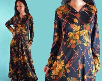 Vintage 70s Dress Bohemian Maxi Dress Empire Waist Black Floral 1970s Hippie Dress Long Sleeve Vintage Boho Festival Long Maxi Dress M/L