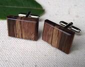 Wood Cuff Links - Handmade Rectangular Wooden Cufflinks - For the Groom, Groomsmen, Father, or 5-Year Anniversary Gift - 7/8 x 5/8 inch