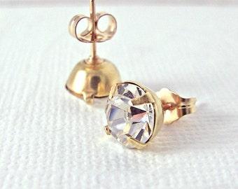Crystal Post Earrings Swarovski Vintage Rhinestone 14K Gold Fill Soldered Posts Ready to Ship Stud Earrings