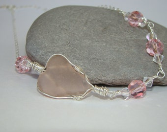 Pink Heart Necklace - Pink Sea Glass Necklace - Sterling Silver - Valentines Day Jewelry