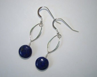 Blue Lapis Earrings, Lapis Lazuli Earrings, Cobalt Blue  - Sterling Silver