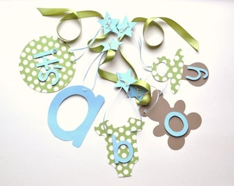 Baby shower decorations, blue and green It's a boy banner by ParkersPrints on Etsy