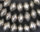 100 Mali Silver Bicone Beads - Antique African Metal Beads - Jewelry Making Supplies - Made in Mali ** (MET-BIC-SLV-151)