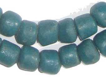 45 Teal Sandcast Beads - African Glass Beads - Fair Trade Tribal Jewelry Making Supplies - Made in Ghana ** (SAND-RND-BLU-55)