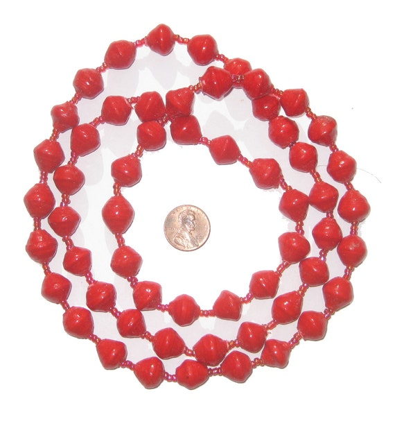 50 Recycled Paper Bead Necklace From Uganda Red Color