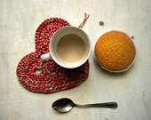red heart crochet coaster or pot holder in red and golden yarn - valentine gift  under 10