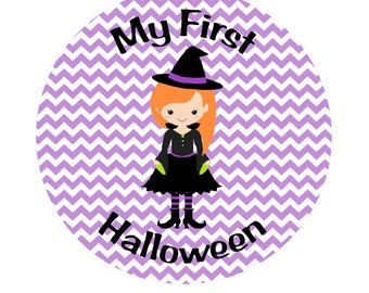 Witch MY FIRST HALLOWEEN Iron On Transfer - Purple Chevron Witch Halloween Transfer - Witch Iron On Transfer - Witch Halloween Outfit H8