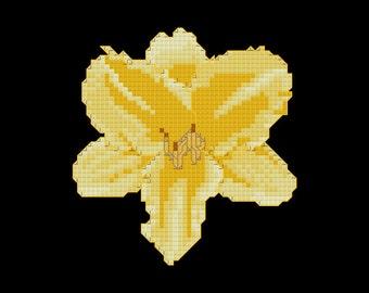 Yellow Lily Cross Stitch Pattern PDF Digital Download