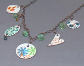 Enameled Copper Charm Necklace