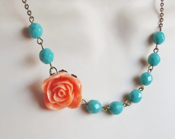 Coral and Mint Flower Necklace. Peach. Salmon. Turquoise. Bridesmaid Necklace. Bridal Jewelry. Rose. Turquoise Necklace.