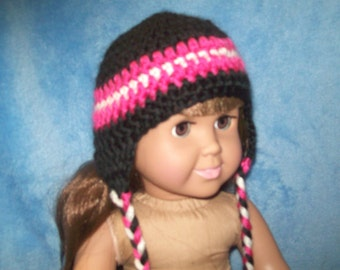 """18""""  doll clothes -Handcrafted Beanie with ear flaps"""