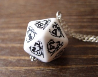 D20 dice dragon necklace dungeons and dragons pendant D20 dice necklace dice jewelry D20 necklace white black