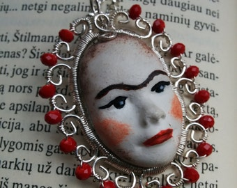 Wire wrapped pendant, necklace with hand made doll face, spanish style