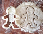 Gingerbread man cookie cutter - With built in stamp, face and buttons imprint