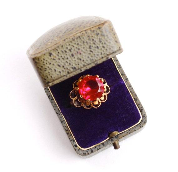 Antique Ring Box Velvet Lined Purple Velvet By