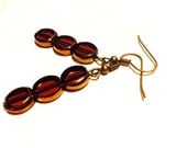 """CLEARANCE - Earrings - Amber Colored Glass - Copper - Antique Bronze - """"My Beautiful Girl"""""""