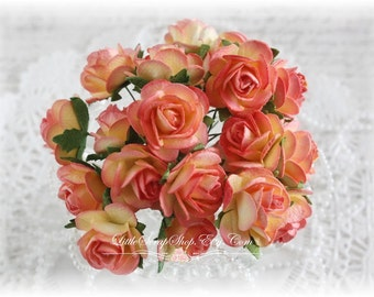 Mulberry Roses~Sorbet~ Set of 20 for Scrapbooking, Cardmaking, Altered Art, Wedding, Mini Album