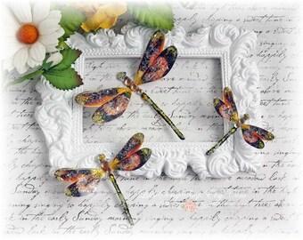 Jeweled Dragonfly Embellishments Mandarin for Scrapbooking, Cardmaking, Tag Art, Mixed Media, Wedding
