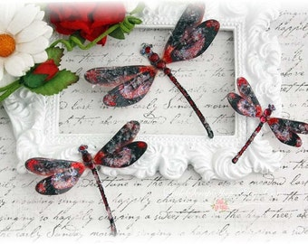 Jeweled Dragonfly Lava Die Cut Embellishments for Scrapbooking, Cardmaking, Tag Art, Mixed Media