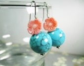 Turquoise Paradise cute dangle earrings with coral flowers and sky blue magnesite