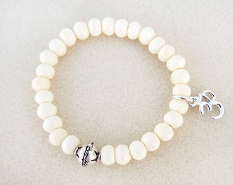 Creamy White Bone Mala Style Stacking Bracelet, Silver Focal, Ohm Charm, Stretch Bracelet, Yoga Zen Meditation, Handmade Stackable Jewelry