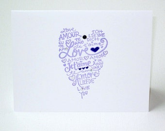 Gothic purple and white I Love You card for him or her ... romantic wedding anniversary Valentine card ... love languages