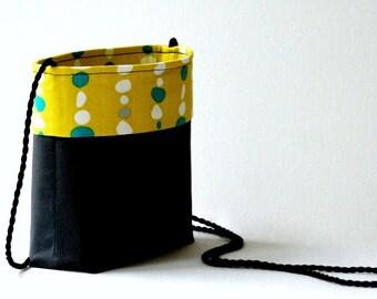 Charcoal gray lemon yellow shoulder purse...2 pockets...1950s retro print organic cotton fabric...small lightweight crossbody...last one!