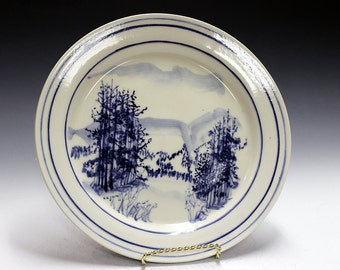 Porcelain hand painted plate gift  Porcelain serving  dish - plate- handmade by professional potter