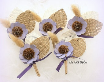 Boutonnieres, Corsages, Button Hole, Wedding, Groomsmen, Groom, Mother of the Bride, Rustic, Shabby Chic, Lilac, Ivory, Burlap, Wheat