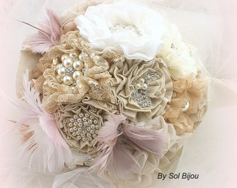 Brooch Bouquet, Ivory, Tan, Champagne, Blush, Feather Bouquet, Wedding, Linen, Lace, Pearls, Burlap, Crystals, Rustic, Vintage Style