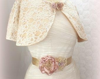 Wedding Cape, Ivory, Cream, Gold, Tan, Champagne, Lace Cape, Cape, Shrug, Capelet, Bolero, Elegant Wedding, Vintage Wedding, Gatsby