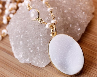 50% OFF SALE - Snow White Druzy Necklace - Freshwater Pearl Chain - Moonstone, Layering Necklace
