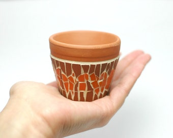 mini ceramic mosaic planter - red orange