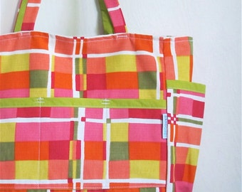 Mid Century Madness Upcycled Retro Weekender - Pink Red Orange Chartreuse Teacher / Market / Diaper Bag - Eco Friendly - Under 50 Her Gift