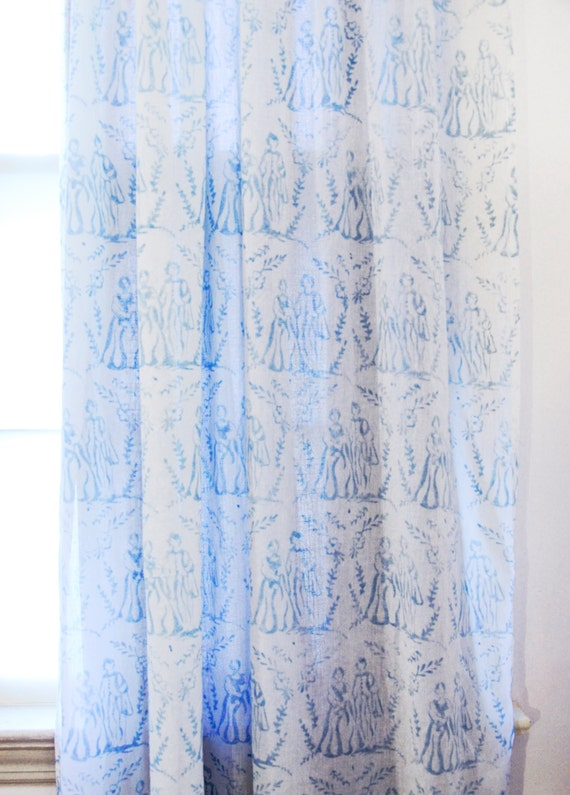 window curtains blue toile cotton window curtain panels by ichcha