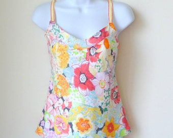 SUZANNE - Hand Made - Camisole - Cotton - Floral - Flower - Colorful - Soft - Girly - UNIQUE - Tropical - Resort - Large Scale Pattern