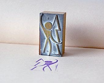 Vintage Wood Printer Block Stamp of Mid Century Logo Man Human Figure With Tree Nature Modern Design.