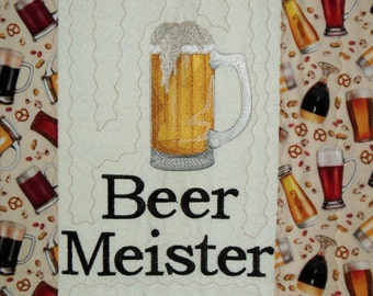 Handmade Embroidered Beer Meister placemat