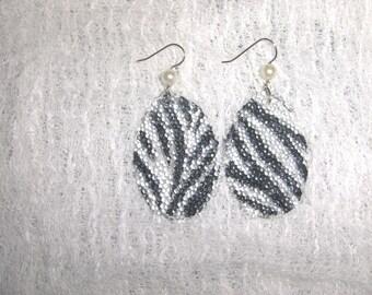 Zebra Print Fused Glass Beaded Earrings