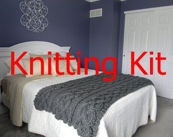 Ready to ship Knitting KIT - DIY Big Chunky Cable Knit Blanket - everything you need - pattern - yarn - needles
