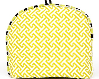 Tea Cozy / Cosy - Lime Green and White Lattice w/ Contrasting Trim and Lining