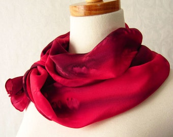 Hand Painted Silk Crepe Scarf in Deep Reds